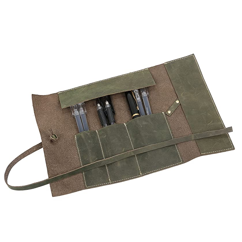 Leather Pencil Case, Fashion & Vintage Pencil Pouch for Men, Leather Pencil Roll, Pen Roll, Pen Holder Organizer for Pencils, Pens, Brushes, Headphone, Ruler