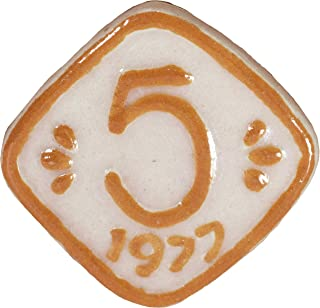 Via Kerala Handmade Ceramic Vintage 5 Pasia Coin (Cream) 1 Piece