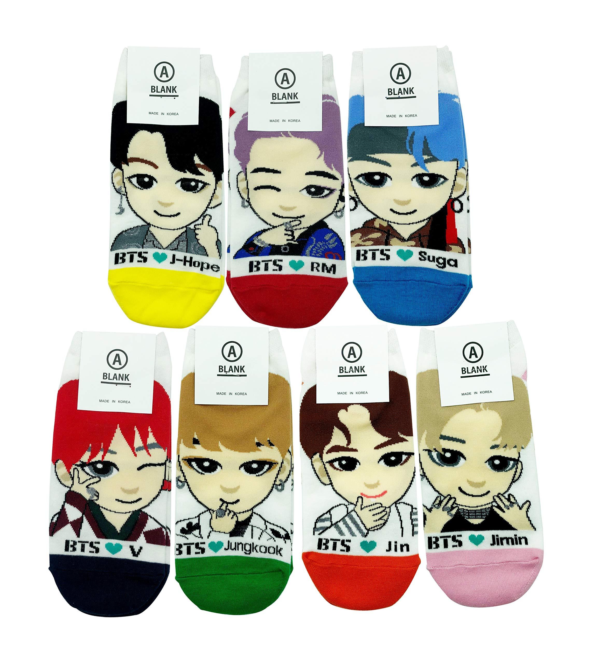 BTS KPOP Character Socks 7 pairs Photocard Included Bangtan Jimin