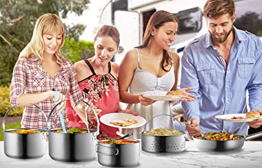 Camping Cookware Set 304 Stainless Steel 8-Piece Pots & Pans Open Fire Cooking Kit | Frying Pan Steamer with Travel Tote