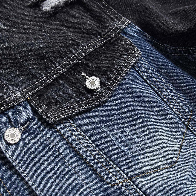 JSPOYOU Jean Jacket for Men Classic Ripped Slim Fit Denim Jacket Vintage Button Down Casual Trucker Jacket Outerwear