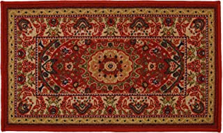 RugStylesOnline Medallion Traditional Persian Oriental Design Mat Red Color Printed Slip Skid Resistant Rubber Back (Red, 18