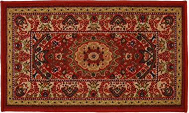 """RugStylesOnline Medallion Traditional Persian Oriental Design Mat Red Color Printed Slip Skid Resistant Rubber Back (Red, 18"""""""