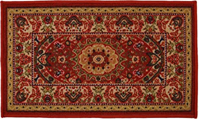 "RugStylesOnline Medallion Traditional Persian Oriental Design Mat Red Color Printed Slip Skid Resistant Rubber Back (Red, 18""x30"" Mat')"