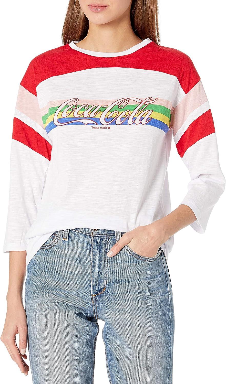 Coca-Cola Womens Rainbow 3//4-sleeve Color Block Tee-Coke-Juniors