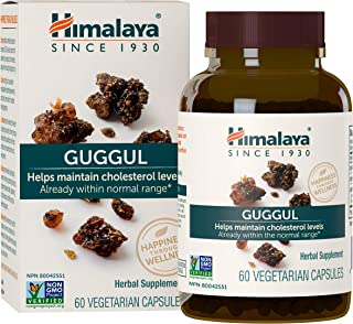 Himalaya Guggul, Cholesterol Supplement for Healthy LDL, HDL and Triglyceride Levels, 750 mg, 60 Capsules, ...