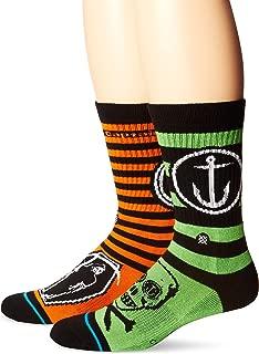 Stance Men's Grim Crew Sock, Orange, Sock Size:10-13/Shoe Size: 6-12