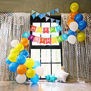 Happy Birthday Decorations Party Set Decorations All-in-One Pack Including Colorful Banner, Multicolor Balloons, Slivery Metallic Tinsel Foil Fringe Curtains, Multicolor Bunting Pennant Flags etc.