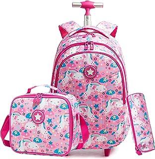Mochila con Ruedas Unicornio para niñas Mochilas para niños con Ruedas Trolley con Ruedas Viaje Viaje Equipaje Mochila Escolar