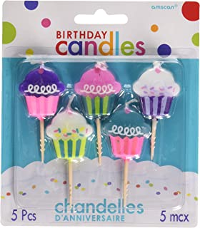 Amscan Time Molded Birthday Toothpick C&Les Childrens Cake Decorations , Cupcakes, 60 Pieces