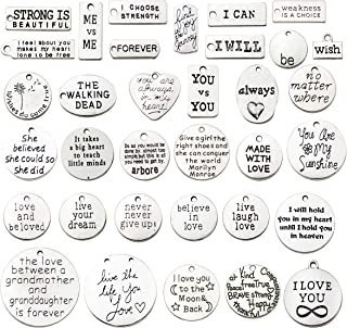 30 PCS Inspiration Word Charms Collection - Antique Silver Round Rectangle Heart Letter Text Book ME vs ME Never Give Up I WILL I CAN Wish ALWAYS Metal Pendants for Jewelry Making DIY Findings (HM44)