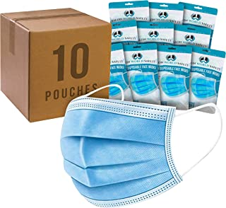 Salon World Safety Masks - Bulk 10 Pouches (100 Masks) in Sealed Packages of 10-3 Layer Disposable Protective Face Masks with Adjustable Nose Clip and Ear Loops - Sanitary 3-Ply Non-Woven Fabric