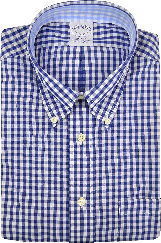 Brooks Brothers Men's 00079255 Regent Fit Contrast The Original Polo Button Down Shirt Blue Gingham Plaid