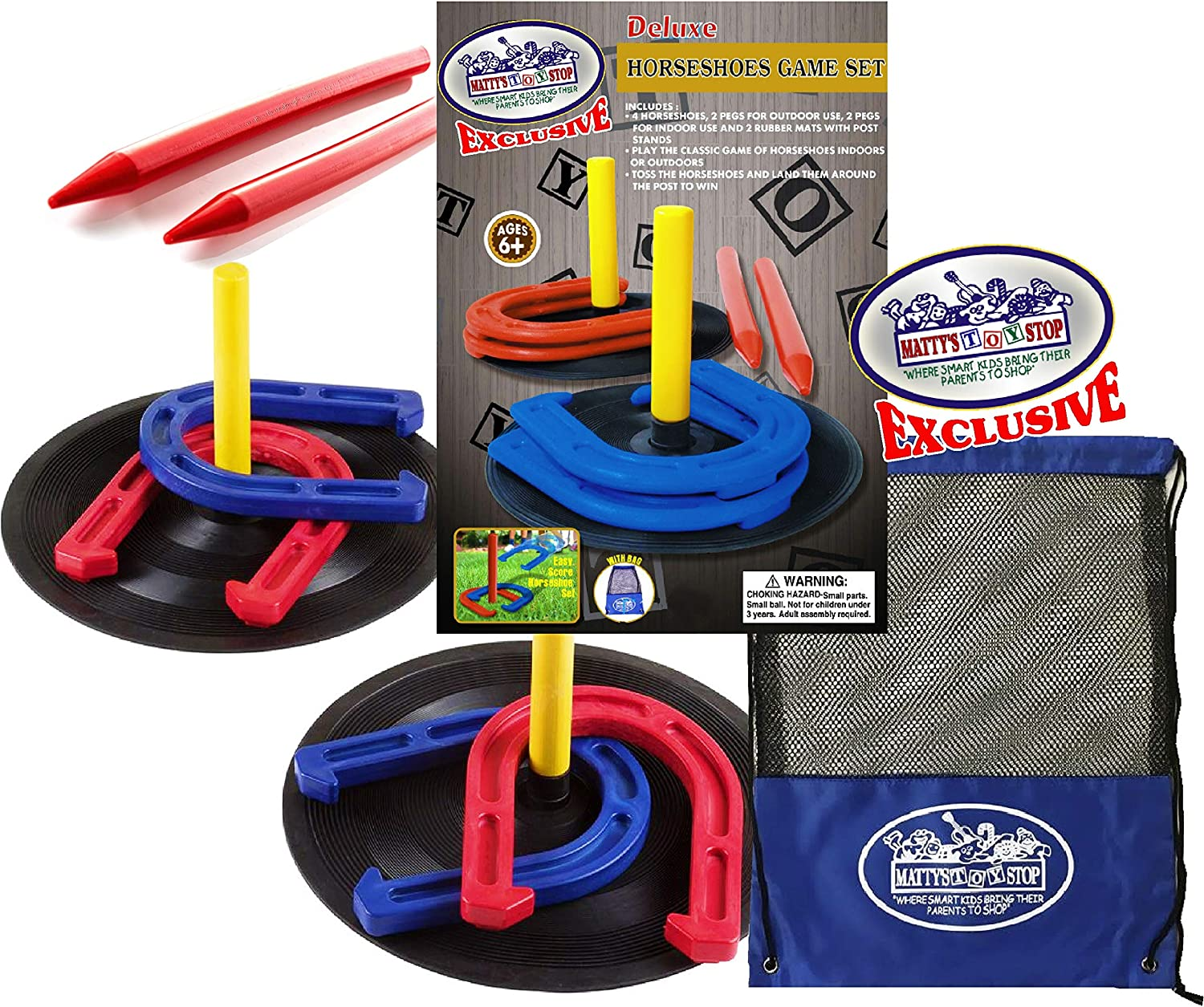 Matty's Denver Mall Toy Cheap mail order sales Stop Deluxe Horseshoes with 4 Set 2 Game