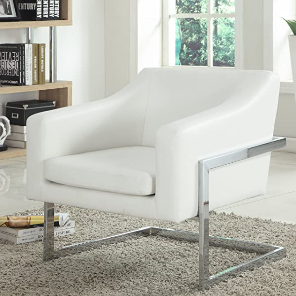 Best Master Furniture 3016 Modern Club Chair Medium White