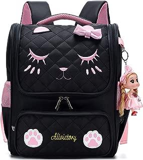 Waterproof Princess School Backpacks for Girls Cute Kids Book Bag Travel Daypack (Large, Black)