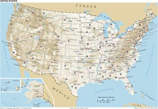13x19 Anchor Maps United States General Reference Wall Map Poster - USA Foundational Series - Capitals, Cities, Roads, Physical Features, and Topography [ROLLED]