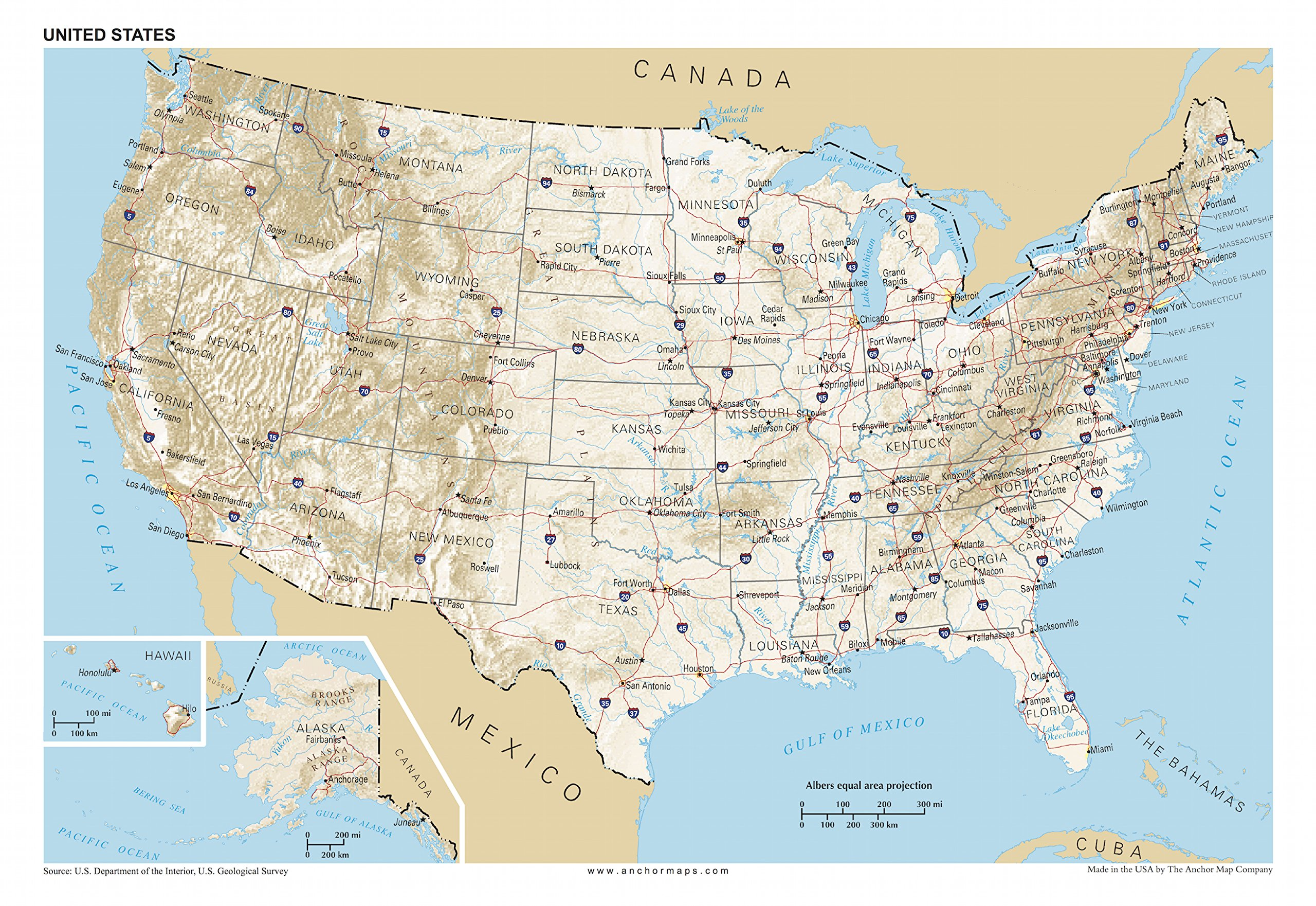 Us Map Topographical Features Amazon.: 13x19 Anchor Maps United States General Reference