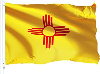 G128 New Mexico State Flag, 3x5 feet, 150D Printed Quality Polyester, Indoor/Outdoor, Vibrant Colors, Brass Grommets, More Durable Than 75D Polyester
