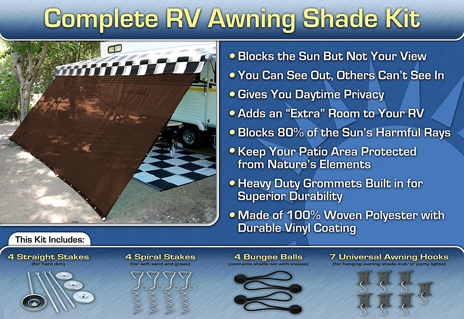 EZ service Travel Collection RV Awning Motorhome Shade Ranking TOP17 Screen Kit