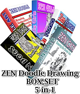 Zen Doodle Drawing BOX SET 5-in-1: Zen Cats, Zen Dogs, Zen Horses, Zen Underwater Life,Zen Girls