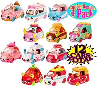 CUTIE CARS Shopkins S3 3 Pack Collections Featuring Moto Italiano, Tasty Takeout, Tea Brake & Wedding Wheels Gift Set Bundle - 4 Pack (12 Total)
