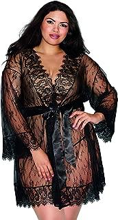 Women's Plus Size Lace Kimono Robe