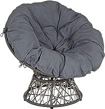 Flash Furniture Bowie Comfort Series Swivel Patio Chair with Dark Gray Cushion (Renewed)