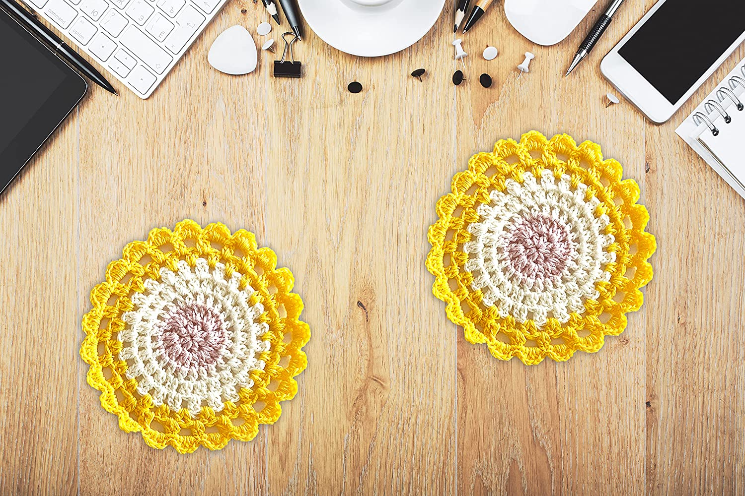 Crochet Handmade Coasters - 2 Holde At the price Pieces Ranking TOP4 Yellow Cotton Coaster