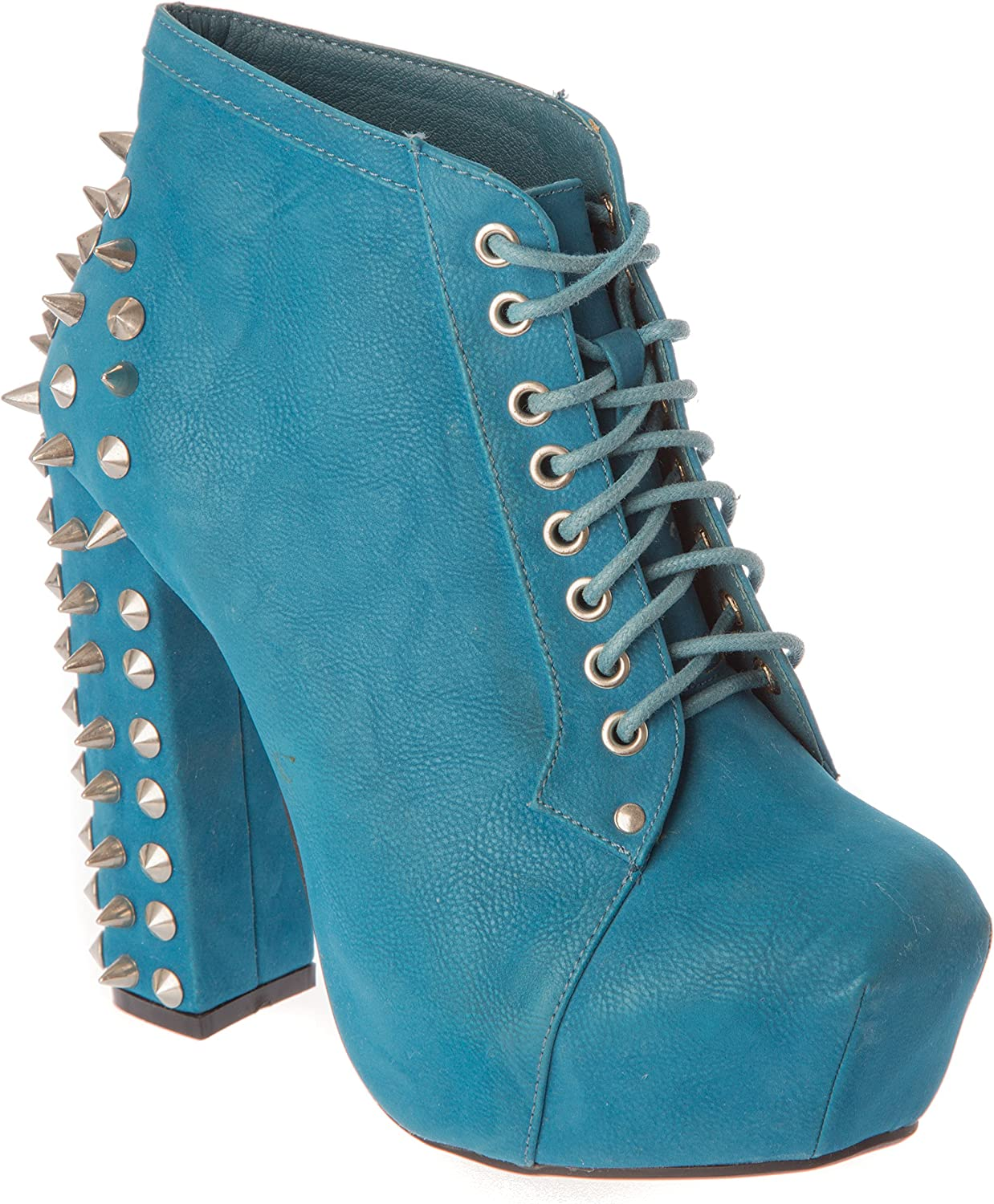 Anna Almeida av5013teal Womans Ankle-High Heel Boots PU Leather Studs Fashion shoes