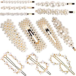 12 Pack Pearl Hair Clips Elegant Hair Barrettes Hair Pins Decorative Hairpins Bridal Girl Women Lady Hair Accessories for Wedding, Party and Daily Wearing