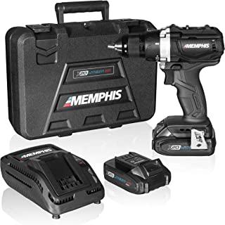 Brushless Cordless Drill Set with Case, Compact Electric Hand Drill with Rechargeable 20V Li-Ion Lithium Battery, 2 Speeds, More Power, Longer Battery Life, Memphis MX20D144