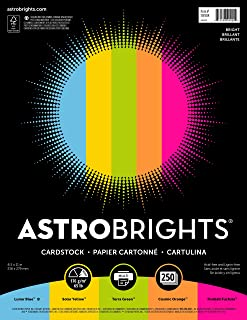 "Astrobrights Colored Cardstock, 8.5"" x 11"", 65 lb/176 gsm, ""Bright"" 5-Color Assortment, 250 Sheets (99904)"
