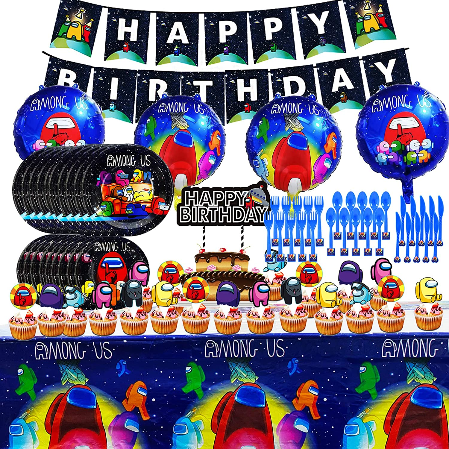 Among Us Party Supplies Favor, Birthday Decorations Include Banner,...