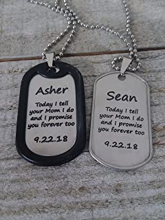 Step Son, Marriage Made you Family, Wedding, Blended, Stepson, Adoption, Military Tag Necklace
