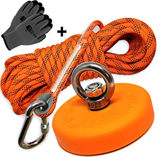 Super Strong Deluxe Magnet Fishing Kit 880LB & Rope Over 2000 LB Strong | Magnet 880lb (400KG) Pull | Durable Orange Rubber | Neodymium Rare Earth Magnet 3.54 inch(90 mm) for Magnet Fishing …
