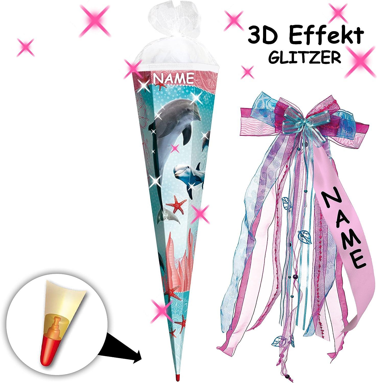 Alles-meine  GmbH 3-D Borte  Glitzer Effekt     _ Schultüte -  Delfin - Fische & Seestern  - 70 cm - rund - incl. Name und individueller großer Schleife - Filzabschluß - Zucke.. B07DVRYD2K | Clever und praktisch  f487b2