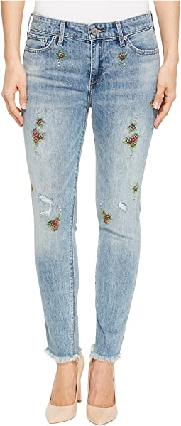 Ava Skinny Embroidered Jeans in Oakwood