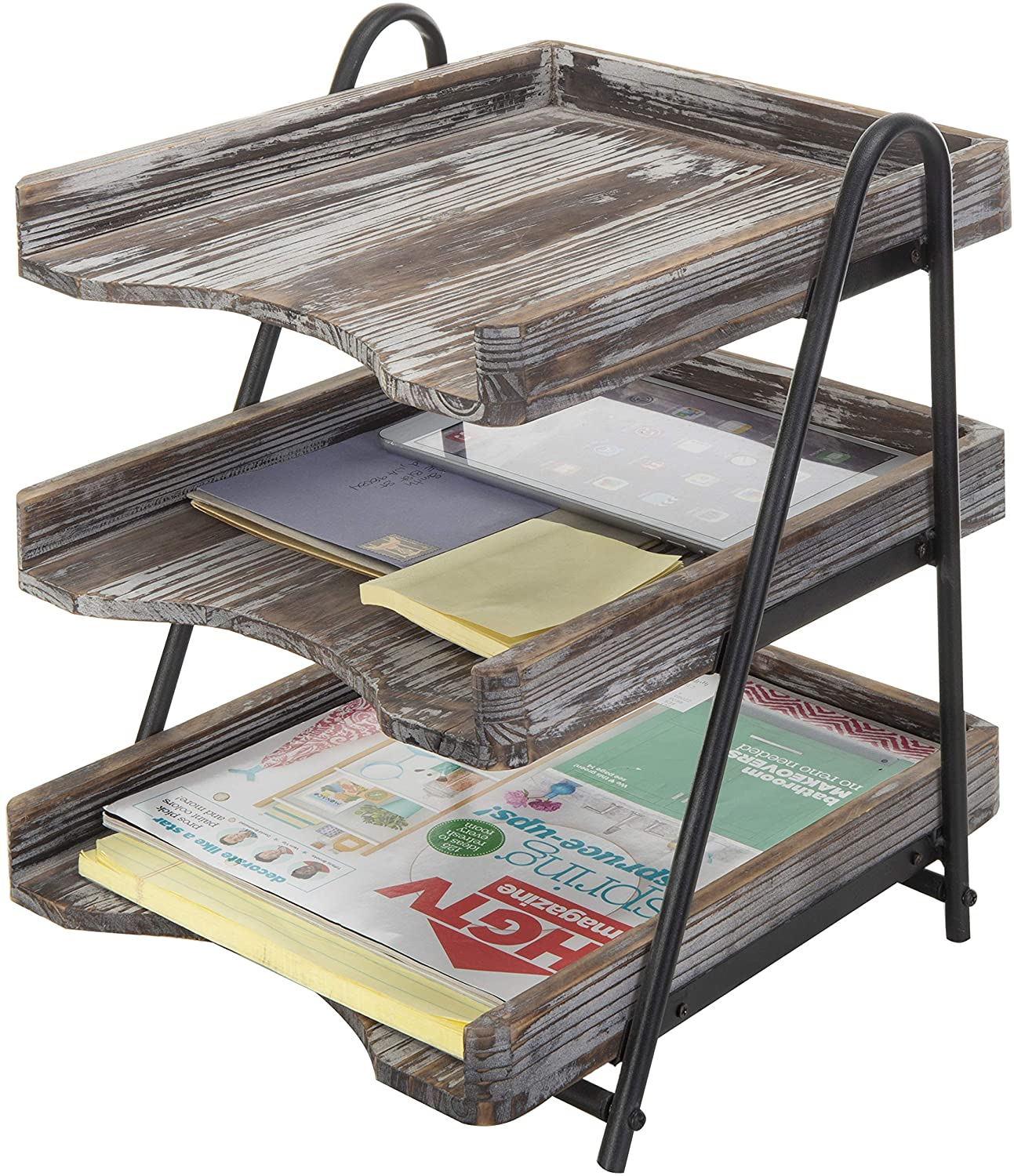 MyGift 3-Tier Torched Wood Special Max 41% OFF sale item Desktop File Office Tray Fo Document