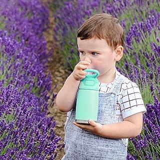 Nuby Thirsty Kids No Spill Flip-It Reflex Stainless Steel Travel Cup, 10 Oz, Aqua, Mint