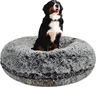 Bessie and Barnie Signature Midnight Frost Luxury Shag Extra Plush Faux Fur Bagel Pet/Dog Bed (Multiple Sizes)