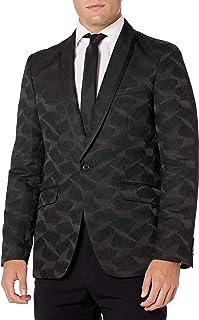 Perry Ellis Men's Jacquard Jacket, Black, Medium/40 Regular
