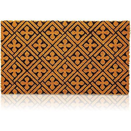 Coco Coir Mat, Cross Print Natural Nonslip Welcome Doormat (17 x 30 in)