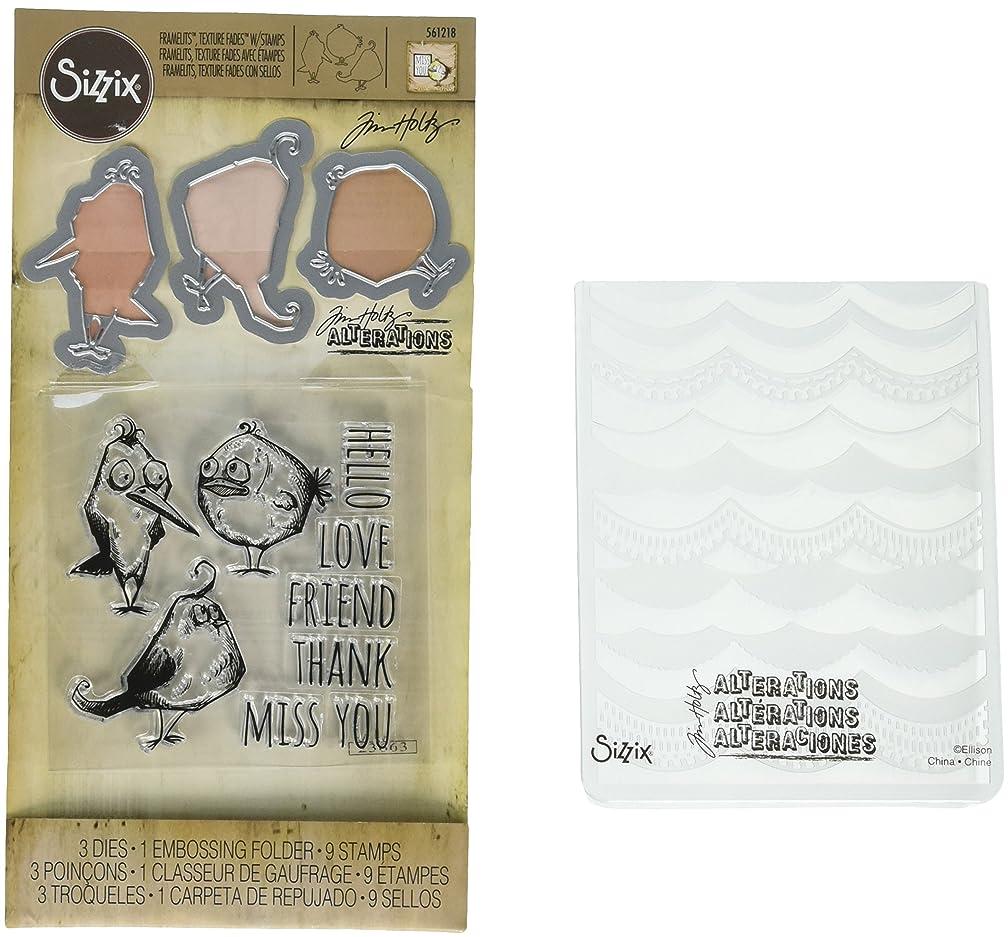 Sizzix Tim Holtz Alterations Stamp, Die & Texture Fade - Bird Talk