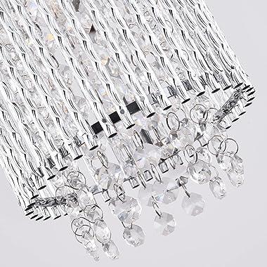 Mini Crystal Pendant Lighting 1 Light Modern Hanging Light Fixtures Bubble Glass Cylinder Chrome Chandelier for Kitchen Islan