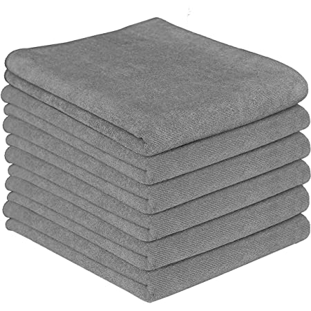 Gryeer Microfibre Tea Towels Highly Absorbent Lint Free Kitchen Tea Towel Thick Grey Amazon De Kuche Haushalt