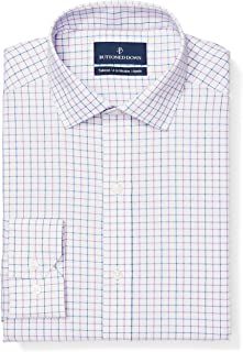 "Buttoned Down Men's Tailored Fit Spread-Collar Pattern Non-Iron Dress Shirt, Grey/Purple/Blue Tattersall Check, 14.5"" Neck 33"" Sleeve"