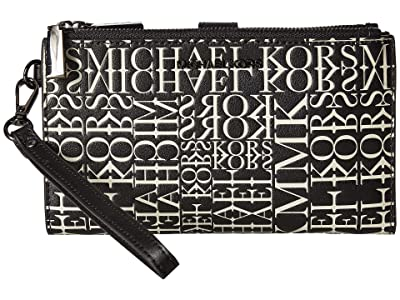 MICHAEL Michael Kors Double Zip Wristlet (Black/Optic White) Wristlet Handbags