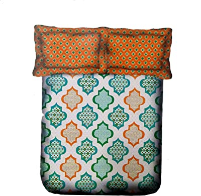 ans 144 TC Cotton Double Bed Bedsheet with 2 Pillow Covers (Green, 220x240 cms)