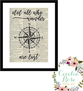 Not All Who Wander Are Lost J R Tolkien All That Is Gold Does Not Glitter Lord of The Rings Nautical Compass Farmhouse Inspirational Quote Upcycled Vintage Book Page 6x8 Box Framed Art Print R